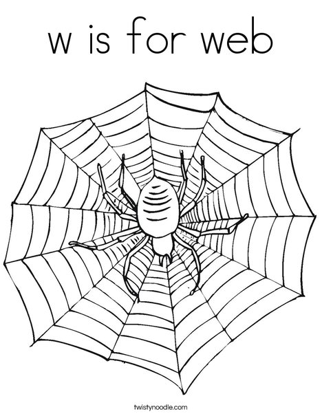 w is for web coloring page twisty noodle