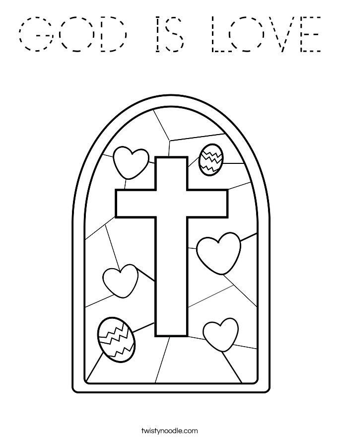 god is love coloring page  tracing  twisty noodle