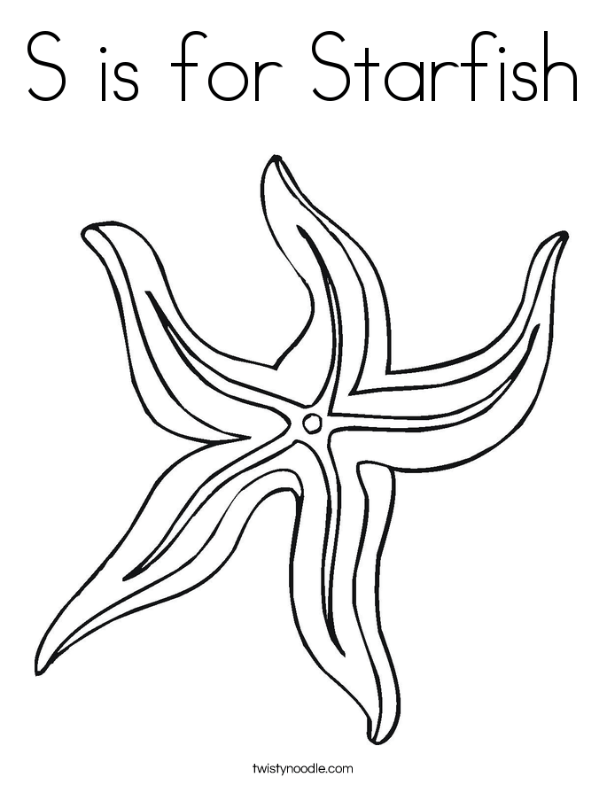 s is for starfish coloring page twisty noodle