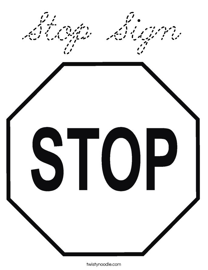 Stop Sign Coloring Page Cursive Twisty Noodle
