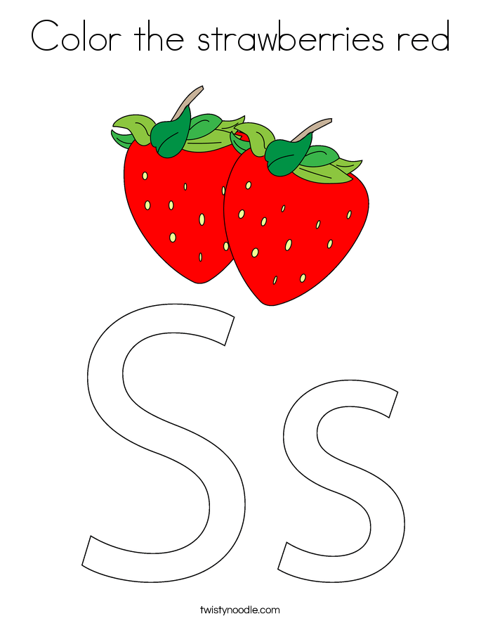 color the strawberries red coloring page twisty noodle