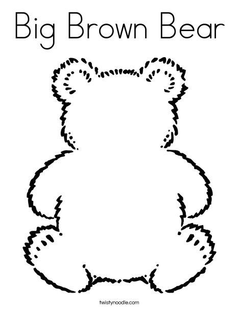 big brown bear coloring page twisty noodle