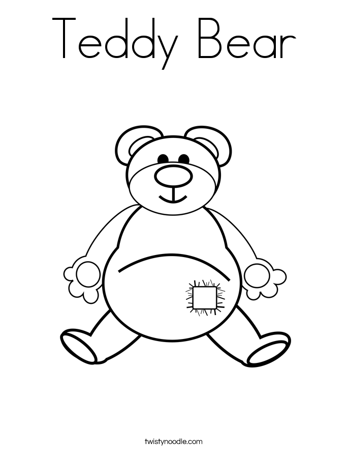 teddy bear coloring page twisty noodle