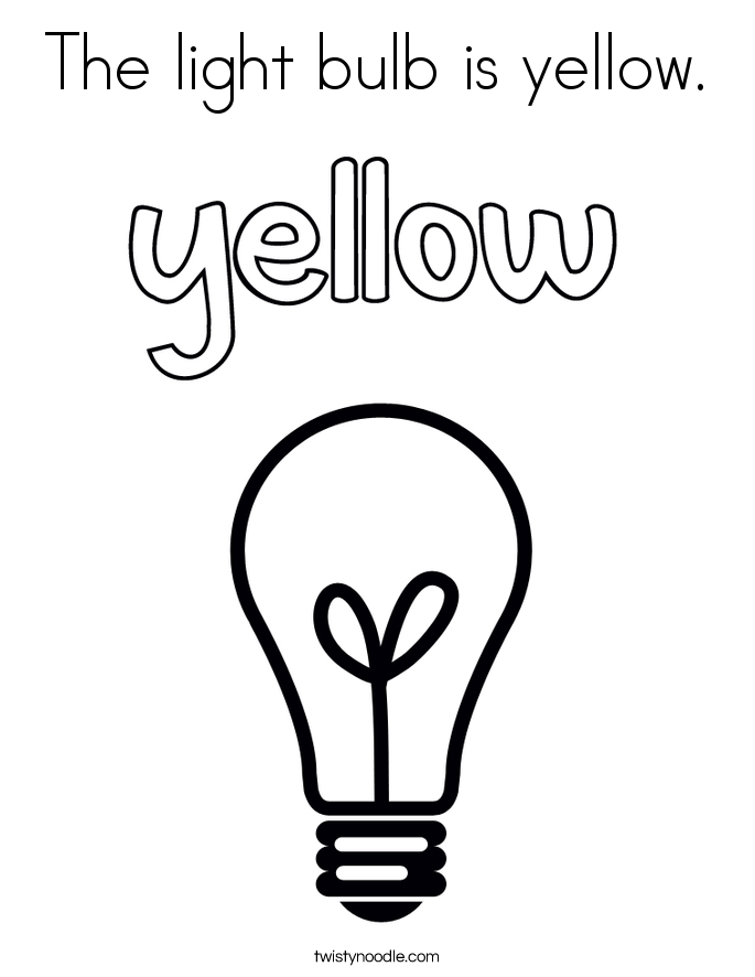 the light bulb is yellow coloring page  twisty noodle