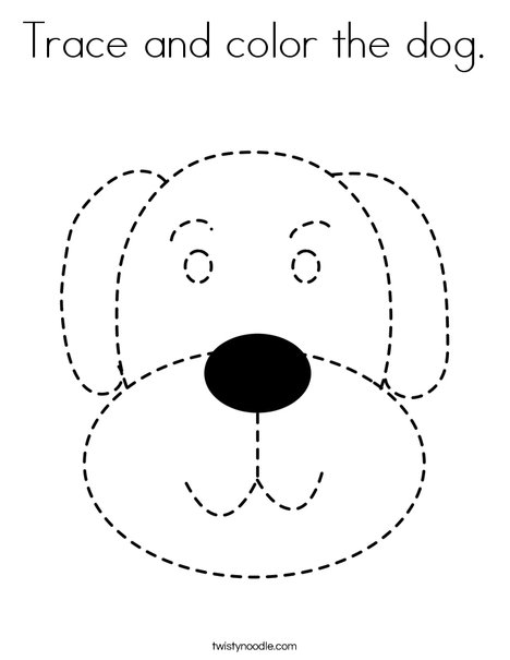 Trace And Color The Dog Coloring Page Twisty Noodle