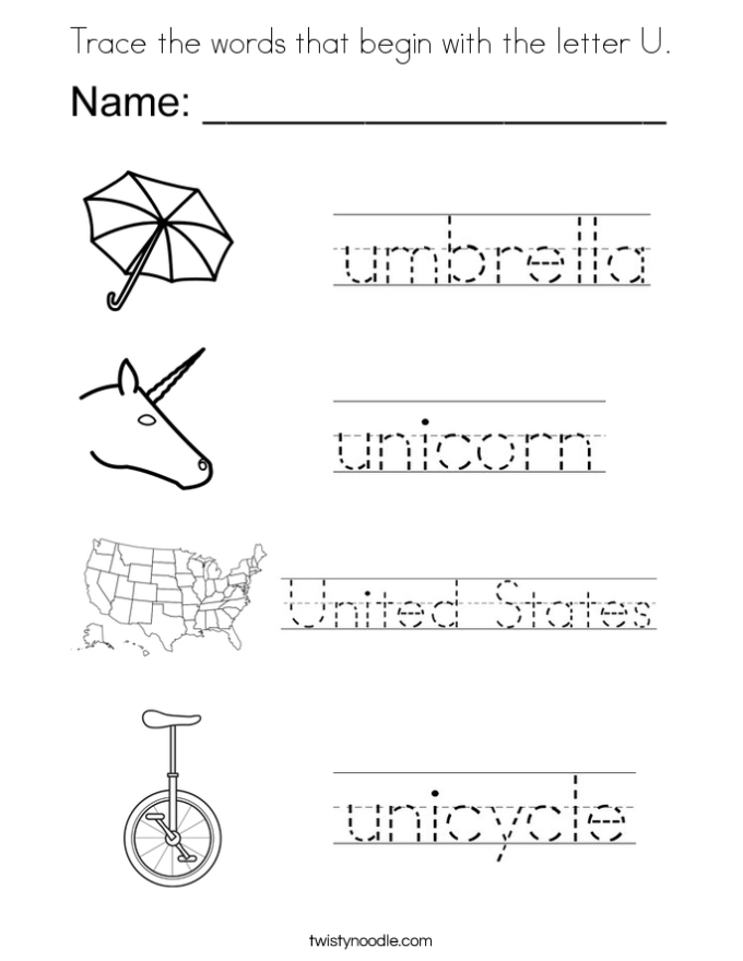 Letter u words preschool choice image reference letter template word spiritdancerdesigns Choice Image