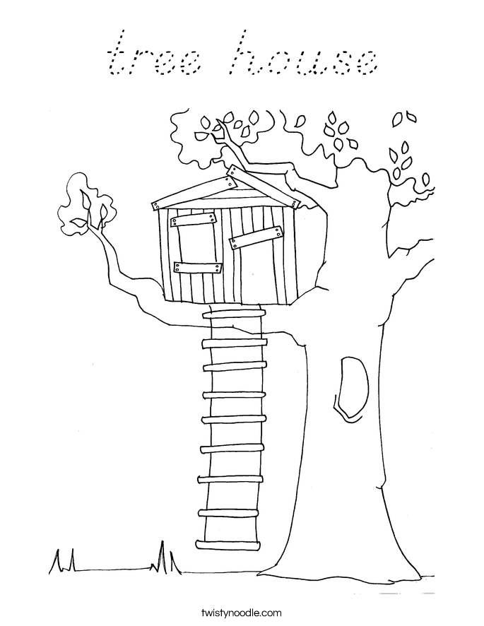 tree house coloring page d nealian twisty noodle