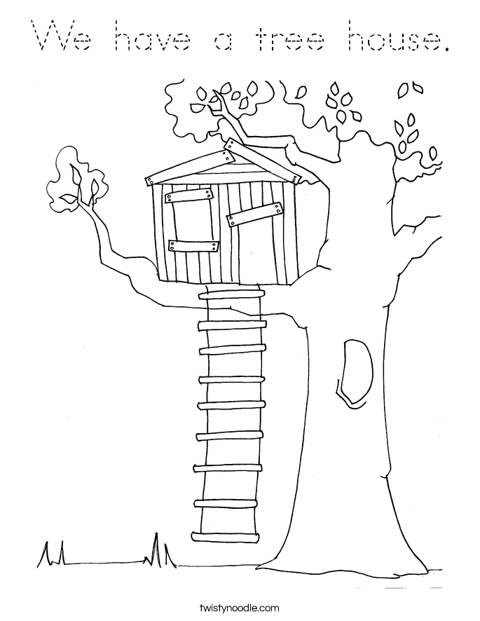 we have a tree house coloring page tracing twisty noodle