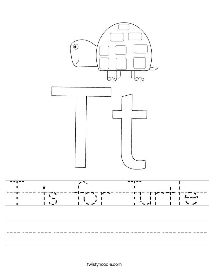 is for turtle worksheet twisty noodle