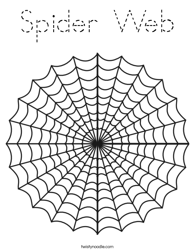 spider web coloring page tracing twisty noodle