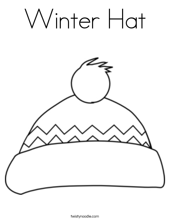 winter hat and scarf colouring page 2