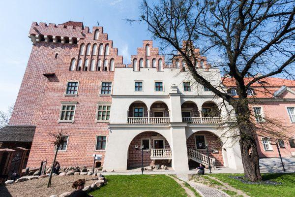 Zamek Gargamela od frontu. Widać m.in. krużganek zwieńczony absurdalnym krenelażem.