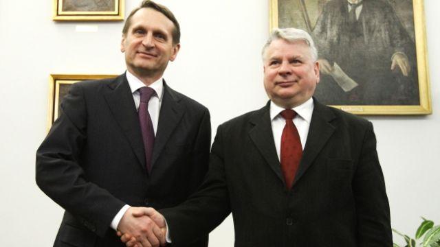 Siergiej Naryszkin z Bogdanem Borusewiczem fot. PAP/Paweł Supernak