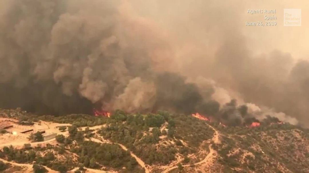 Wildfire Burning in Northeast Spain as European Heat Wave Continues
