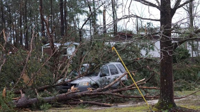 A vehicle is caught under downed trees along Lee Road 11 in Beauregard, Alabama, Sunday, March 3, 2019, after a powerful storm system passed through the area. (Kara Coleman Fields/Opelika-Auburn News via AP)