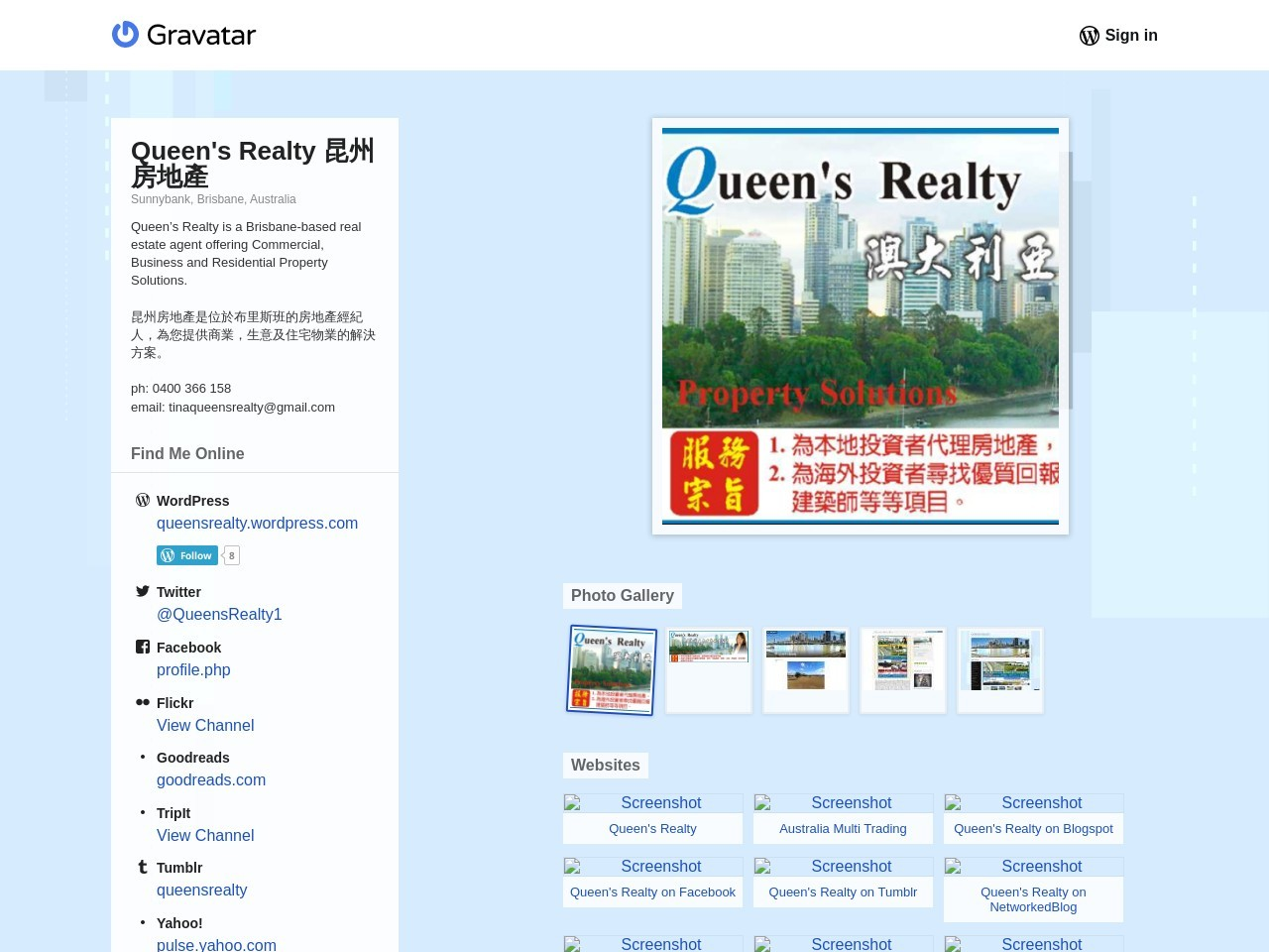 Queen's Realty on Gravatar