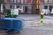 Morning cleanup on Plaza Mayor in Madrid after Spanish team's victory in the Euro 2012 title match.
