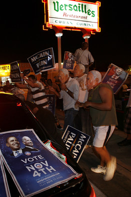 [Supporters of the presidential candidates in Miami's Little Havana area Tuesday. Barack Obama got 35% of the Cuban-American vote in Florida.]