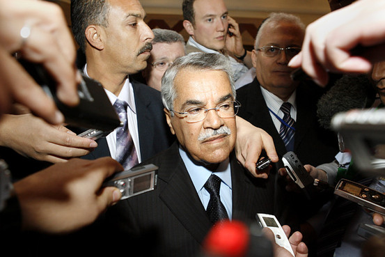 Ali Al-Naimi, Saudi Arabia's oil minister, pauses while speaking to journalists as he arrives at his hotel prior to an OPEC meeting in Oran, Algeria.