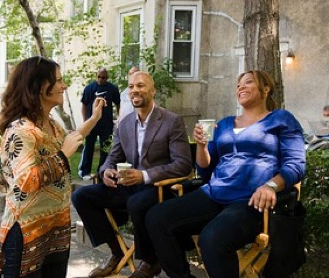 David Lee Director Sanaa Hamri Standing And Common And Queen Latifah On The Set Of Just Wright