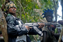 Guard at a rebel camp in the Niger Delta