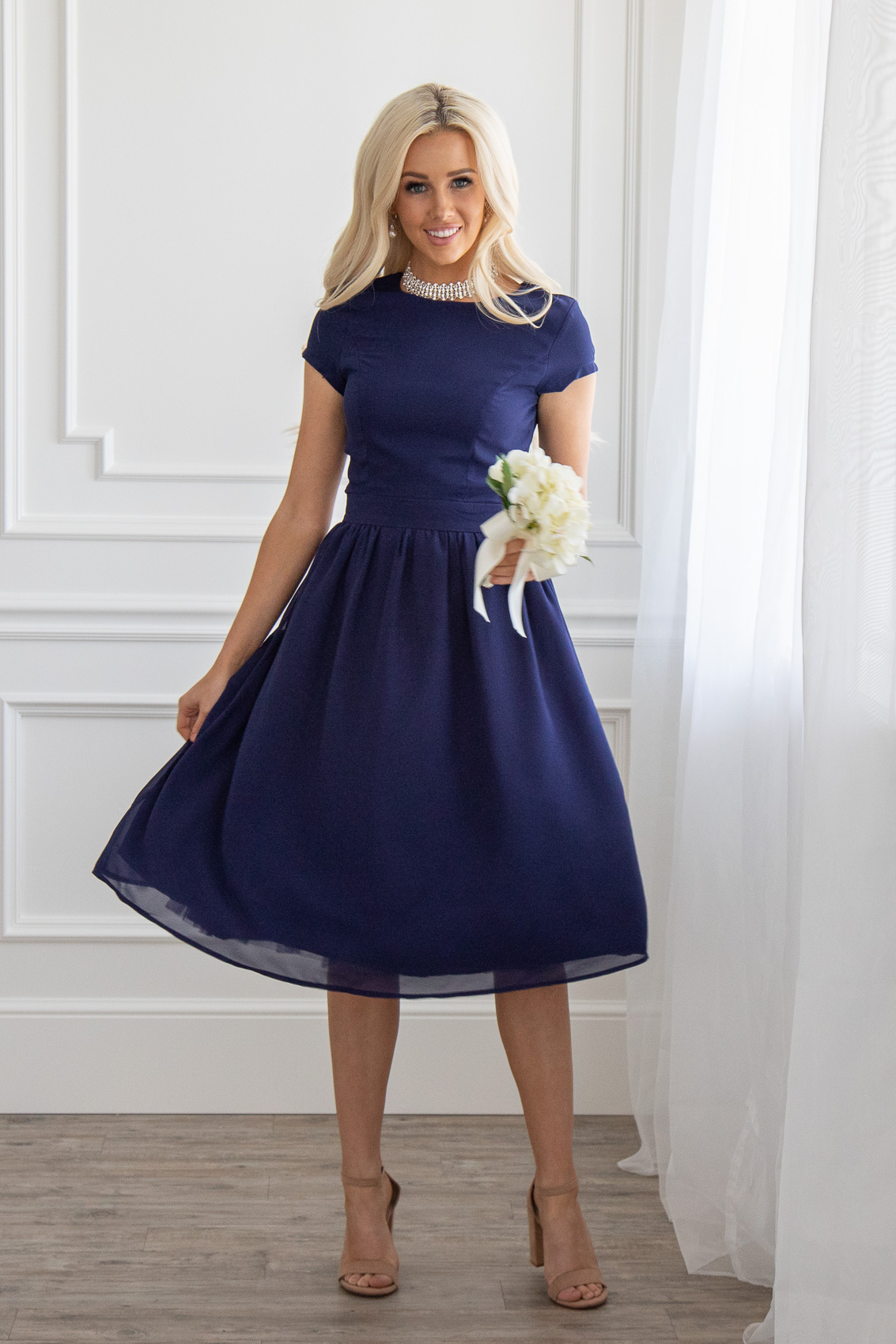 Jenclothing S Lucy Semi Formal Modest Dress In Navy Blue