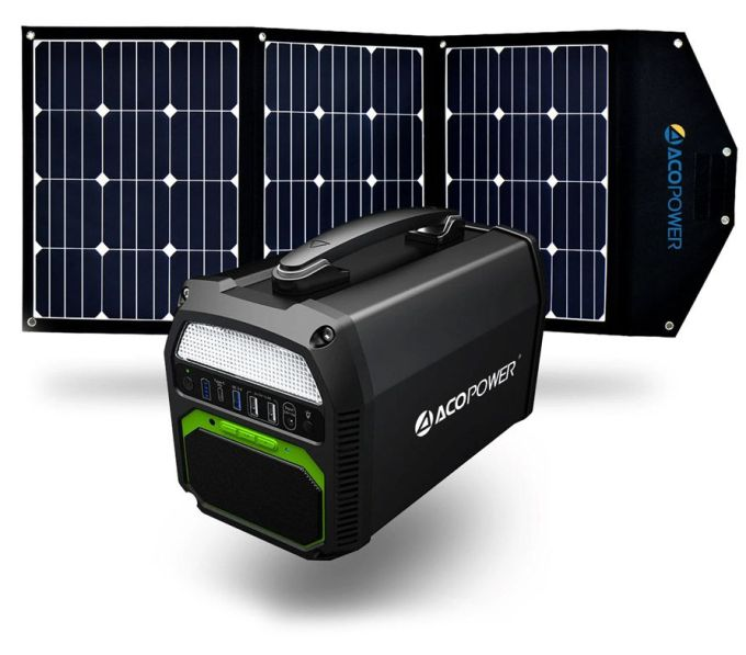 Aco Power 462wh 500w Portable Solar Generator Kit With Integrated Bluetooth Speaker And 120 Watt Solar