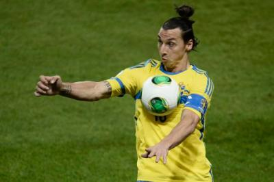 Sweden's Ibrahimovic controls the ball during World Cup qualifier against Portugal, in Stockholm