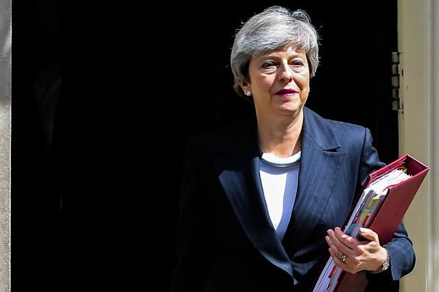 British Prime Minister Theresa May is seen departing from Number 10 Downing Street to attend Prime Minister's Questions (PMQs) in the House of Commons on the eve of European Parliament elections. (Photo by Dinendra Haria / SOPA Images/Sipa USA)