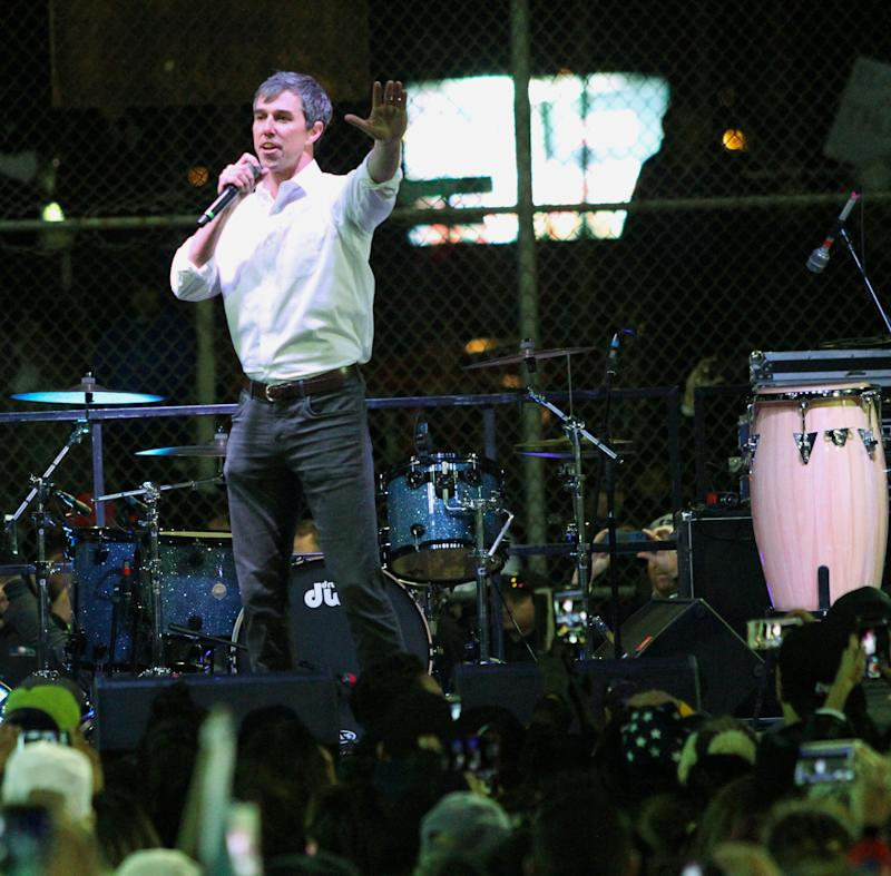 Former U.S. Rep. Beto O'Rourke speaks to a crowd of several thousand inside a ball park across the street from where President Donald Trump was holding a Make America Great Again rally inside the El Paso County Coliseum Monday night, Feb. 11, 2019 in El Paso, TX.. (Photo: Rudy Gutierrez/AP)