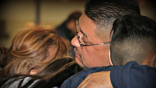 PHOTO: Jorge Garcia says goodbye to his family at Detroit Metropolitan airport before being deported, Jan. 15, 2018. (Natalie Gallagher)