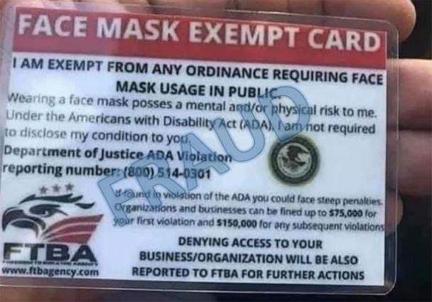 PHOTO: A 'Face mask exempt' card, which features a Department of Justice logo, is seen in a DoJ handout image. Federal officials recently flagged that the group behind the cards are not a government agency and described the cards as fraudulent. (Dept. of Justice)