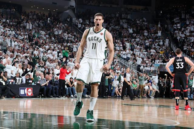 Brook Lopez scored a playoff career-high 29 points in Game 1 of the Eastern Conference finals. (AP)