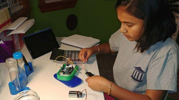 PHOTO: Gitanjali Rao, 11, works on her lead testing device at home in the family's 'science room' in Lone Tree, Colo., in an undated handout photo. (Courtesy Bharathi Rao)