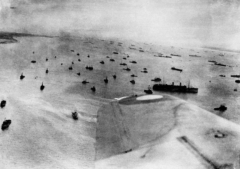 An aerial view of the Allied fleet off the Normandy coast on D-Day, June 6, 1944, the biggest naval operation ever in terms of the number of ships deployed