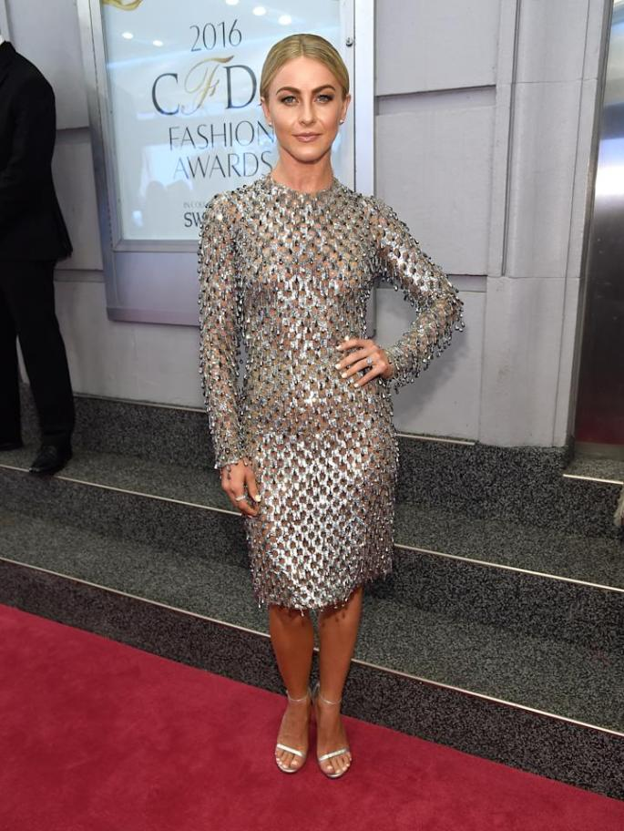 <p>Just a night after judging Miss USA in Las Vegas, Julianne Hough attended the CFDAs in a disco ball-inspired dress from Michael Kors. <i>(Photo: Getty Images)</i><br /></p>
