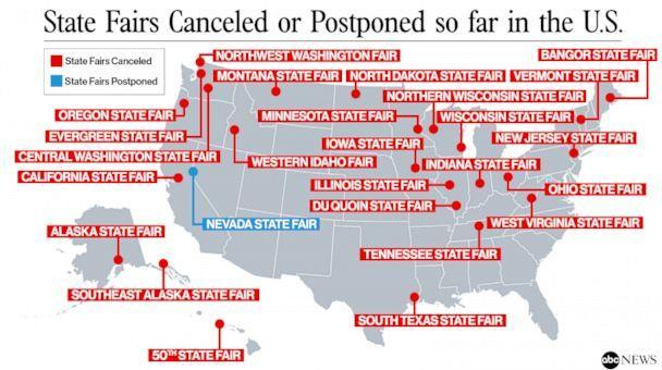 State fairs canceled or postponed so far in the USA (ABC News Photo Illustration)