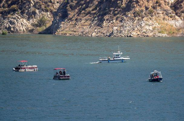 PHOTO: Ventura County crews search Lake Piru for missing actress Naya Rivera, who is missing, July 9, 2020 in Lake Piru, CA. (Brian Van Der Brug/Los Angeles Times via Getty Images)