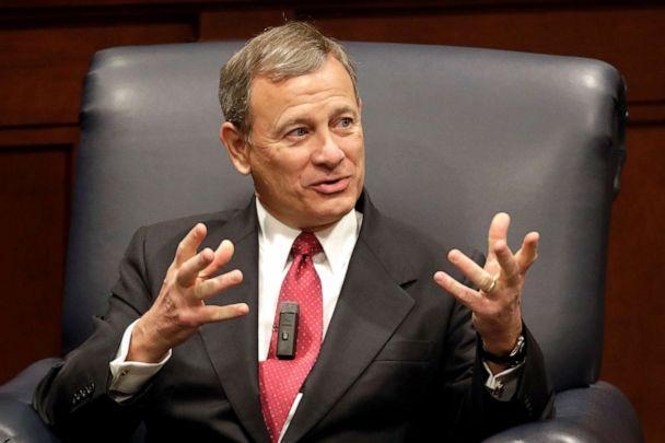 PHOTO: FILE - In this file dated February 6, 2019, Supreme Court Justice John Roberts answers questions during an appearance at Belmont University in Nashville, Tennessee. (Mark Humphrey / AP, file)