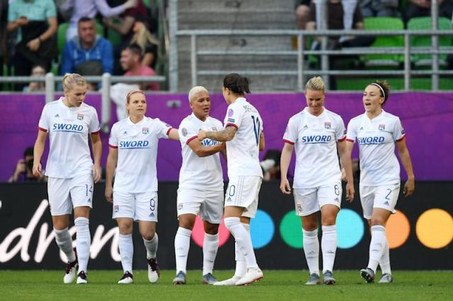 (L-R) Ada Hegerberg of Olympique Lyonnais women, Eugenie Le Sommer of Olympique Lyonnais women, Shanice van de Sanden of Olympique Lyonnais women, Dzsenifer Marozsan of Olympique Lyonnais women, Amandine Henry of Olympique Lyonnais women, Lucy Bronze of Olympique Lyonnais women during the UEFA Women's Champions League final match between Olympique Lyonnais women v FC Barcelona women on May 18, 2018 at Ferencvaros Stadium in Budapest, Hungary(Photo by VI Images via Getty Images)