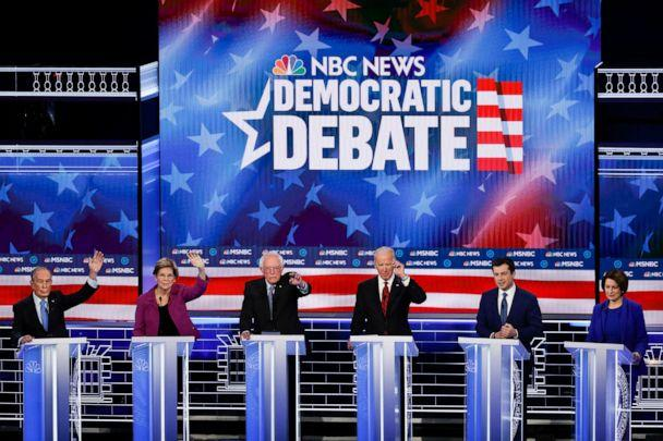 PHOTO: Democratic presidential candidates participate in a Democratic presidential primary debate, Feb. 19, 2020, in Las Vegas, hosted by NBC News and MSNBC. (John Locher/AP)
