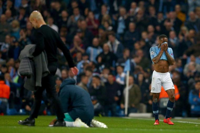 """<a class=""""link rapid-noclick-resp"""" href=""""/soccer/teams/manchester-city/"""" data-ylk=""""slk:Manchester City"""">Manchester City</a>'s Raheem Sterling, right, and Manchester City coach Pep Guardiola, left, react after being defeated in the Champions League quarterfinal, second leg, soccer match between Manchester City and <a class=""""link rapid-noclick-resp"""" href=""""/soccer/teams/tottenham-hotspur/"""" data-ylk=""""slk:Tottenham Hotspur"""">Tottenham Hotspur</a> at the Etihad Stadium in Manchester, England, Wednesday, April 17, 2019. (AP)"""
