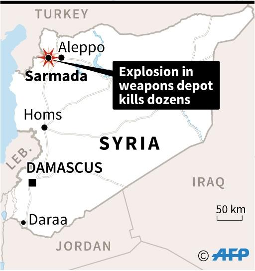Map locating the town of Sarmada in northern Syria where dozens, including children, were killed Sunday in an explosion at a weapons depot (AFP Photo/AFP )