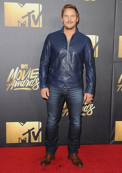 Chris Pratt in a blue leather bomber jacket
