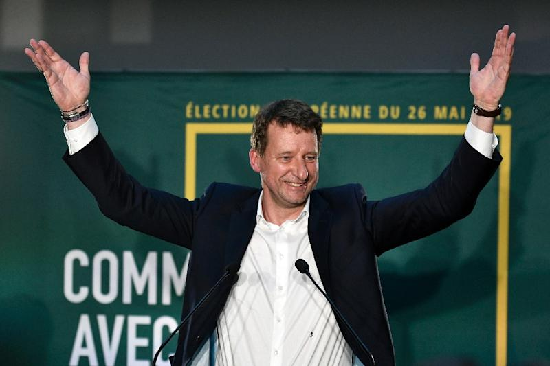 Head candidate of the Europe Ecologie Les Verts (EELV) in France Yannick Jadot hailed a 'green wave' (AFP Photo/STEPHANE DE SAKUTIN)