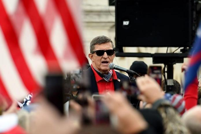 Watch Michael Flynn butcher the Pledge of Allegiance at a Lin Wood rally in South Carolina