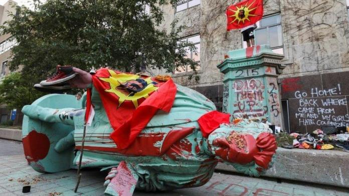 Egerton Ryerson statue toppled at Canada indigenous school protest
