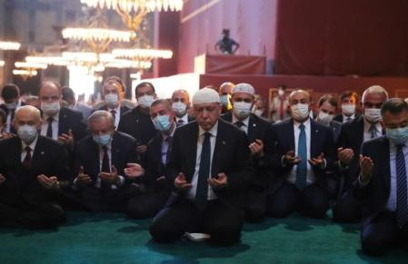 Turkish President Erdogan Prays with Muslims in Hagia Sophia After Former Church is Converted to a Mosque