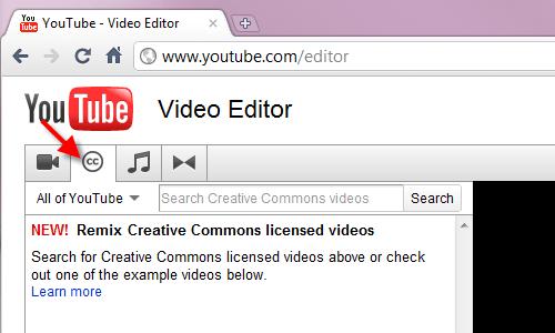 Screen shot of video editor