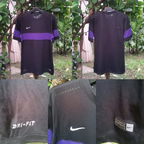 Jersey Nike Sepakbola/Futsal/Running  AUTHENTIC TEAM Original (Hitam/Ungu)